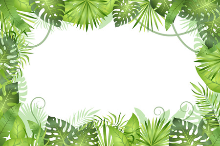 Jungle background. Tropical leaves frame. Rainforest foliage plants, green grass trees. Paradise african wildlife jungle vector frame Imagens - 116391588