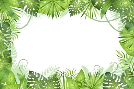 Sfondo della giungla. Cornice di foglie tropicali. Piante di fogliame della foresta pluviale, alberi di erba verde. Cornice vettoriale paradiso della fauna selvatica africana giunglaafrican Vettoriali