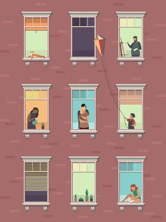 Okna z ludźmi. Otwarte okno sąsiedzi ludzie komunikują się na zewnątrz budynku mieszkalnego ćwicząc w domu rano. Ilustracja kreskówka