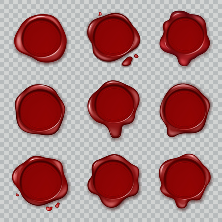 Wax seal. Original waxing rubber old vintage document envelope seals red approve stamps isolated vector 3d