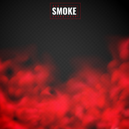 Red smoke. Mist red powder clouds smoking spooky dusty fog condensation transparent smog texture isolated on black vector background Illustration
