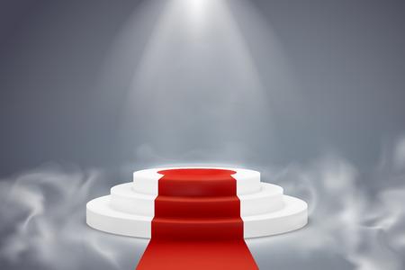 Round podium. Pedestal platform illuminated ceremony achievement winner light exposition effect pillar, perspective, vector design