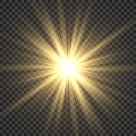 Realistic sun rays. Yellow sun ray glow abstract shine light effect starburst sbeam sunshine glowing isolated vector illustration Çizim