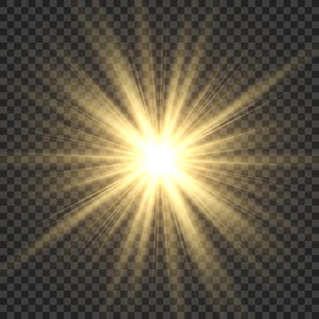 Realistische zonnestralen. Gele zonnestraal gloed abstracte glans lichteffect starburst sbeam zonneschijn gloeiende geïsoleerde vectorillustratie Vector Illustratie