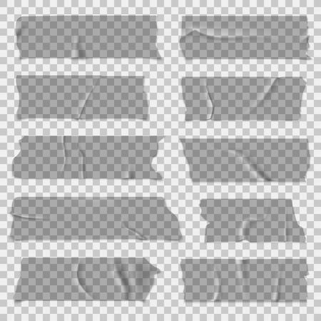 Nastro adesivo. Nastri adesivi trasparenti, pezzi adesivi grigi. Insieme di vettore isolato