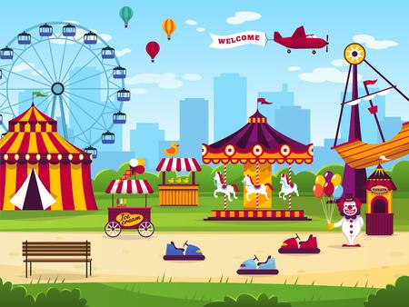 Park rozrywki. Atrakcje rozrywka wesoła zabawa karnawał zabawa cyrk karuzela dzieci gry wesołe miasteczko krajobraz płaskie wektor tle