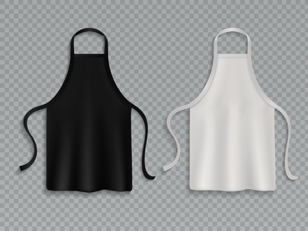 Chef apron. Black white culinary cloth aprons chef uniform kitchen cotton cooking clothes isolated vector mockup set