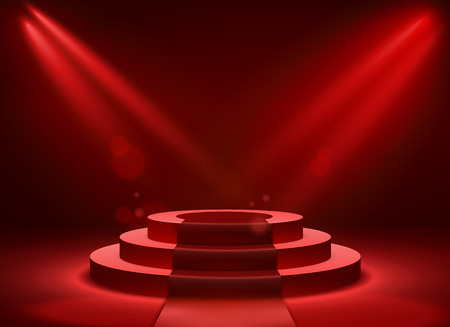 Stage podium lighting. Award ceremony victory pedestal champion, show victory, event celebration winner place, red vector background