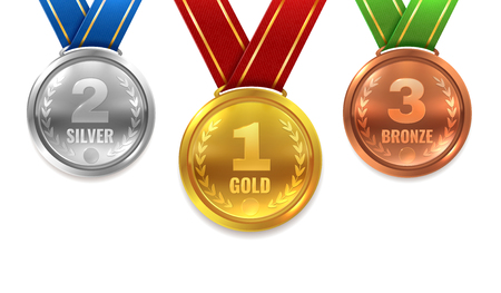 Gold silver bronze medals. Winner shiny circle medal honor champion award ceremony trophy place sport ribbon best prize, vector set