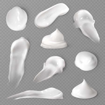 Realistic cosmetic cream smears. White creamy drop skincare cream product lotion thick fresh smooth smear isolated vector texture