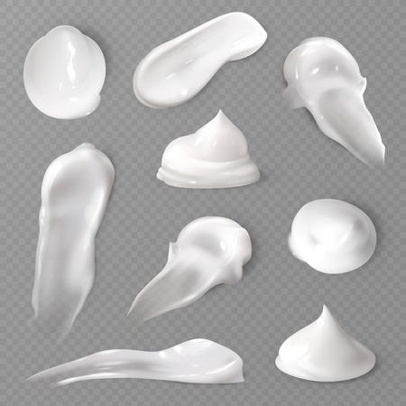 Realistische kosmetische Cremeabstriche. Weiße cremige Tropfen Hautpflegecreme Produktlotion dicker frischer glatter Abstrich isolierte Vektortextur