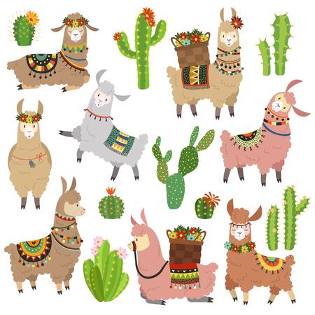 Llama cactus. Chile llamas alpaca and cacti wild lama. Peru camel, girl scrapbook kids funny elements cartoon vector illustration set