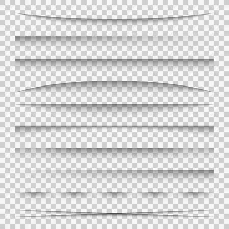 Cień linii. Zakładki rozdzielające papier linie internetowe łamią ramkę realistyczne przezroczyste cienie szablon pasek boczny krawędź pudełko opakowanie, zestaw wektorowy Ilustracje wektorowe