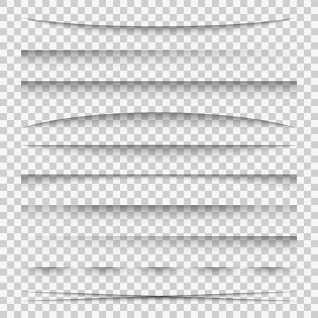 Lines shadow. Paper divider tabs web lines break frame realistic transparent shadows template side bar edge box pack, vector set Vetores