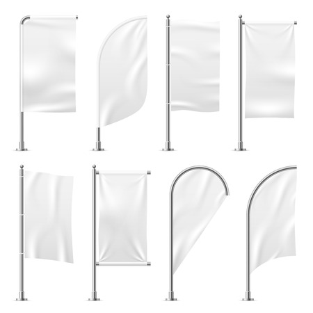Beach flag. Template banner mockup white flags promotion event display exhibition 3d outdoor advertising realistic vector illustration
