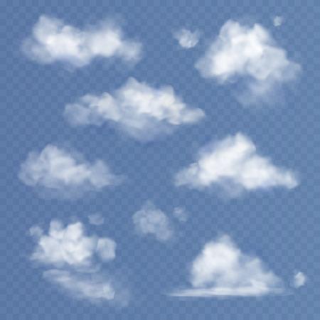Nuage réaliste. Nuages blancs brouillard de ciel duveteux opacification isolé sur l'ensemble de fond de ciel bleu transparent