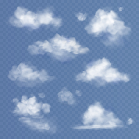 Realistic cloud. White clouds fluffy sky fog clouding isolated on transparent blue sky background set
