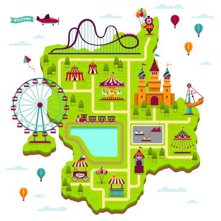 Mapa del parque de atracciones. Elementos del esquema atracciones festival diversión parque de atracciones ocio feria familiar juegos para niños dibujos animados vector mapa del parque