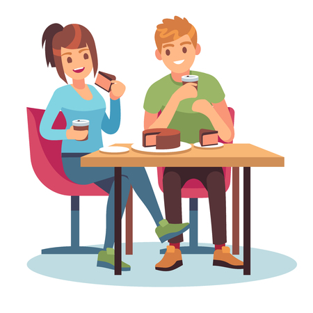 Man woman cafe. Couple romantic date dinner restaurant meeting friends table food drink talk relationship, flat vector illustration Vettoriali