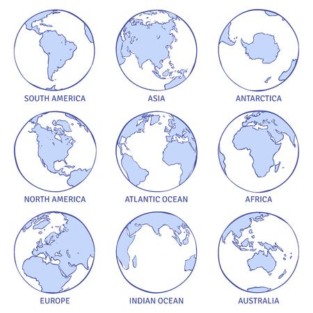 Schets aarde. Kaart wereld hand getekende globe, aarde cirkel concept continenten contour planeet oceanen land doodle collectie