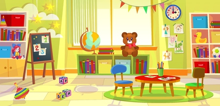 Sala giochi per bambini. Asilo bambino appartamento gioco aula apprendimento giocattoli camera classe prescolare sedie da tavolo, fumetto illustrazione Vettoriali