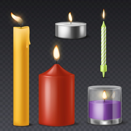 Realistic candle. Candlelight romantic birthday holiday wax burning 3d candles warm fire dinner celebration symbol isolated set Illustration