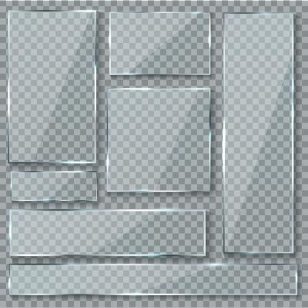 Piatto di vetro. Vetro effetto texture finestra plastica trasparente trasparente banner piastre acrilici lucidi segni set isolato Vettoriali