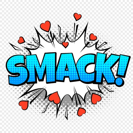 Smack comic word. Cartoon pop vintage speech bubble with halftone dotted shadow and hearts vector concept