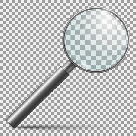 Realistic magnifier. Magnifying glass lens or zooming loupe silver handle instrument isolated vector illustration Çizim