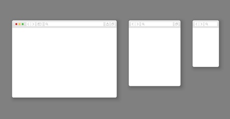 Browser mockups. Website different devices web window mobile screen internet flat template empty page network row set Illustration