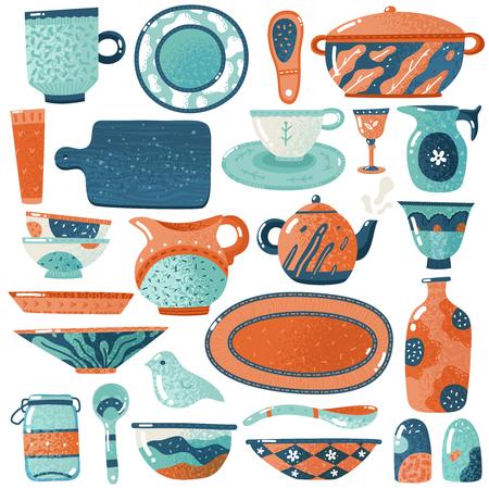 Ceramic crockery. Home kitchen isolated crockery utensils tableware pitcher pot bowl cup decorative dish rustic creamer vector set