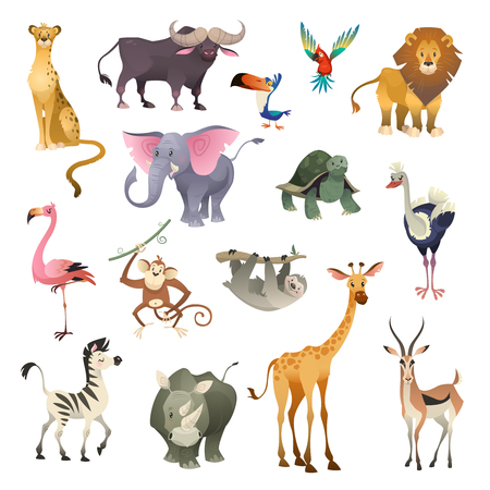 Jungle wild animals. Savannah forest animal bird . Nature Africa tropical exotic forest marine mammals, cartoon set