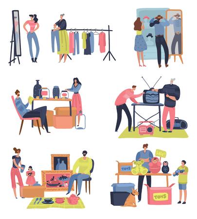 Mercado de pulgas. Gente de compras vendiendo artículos retro de segunda mano, intercambio de ropa, encuentro bazar. Conjunto de vector de mercado de pulgas