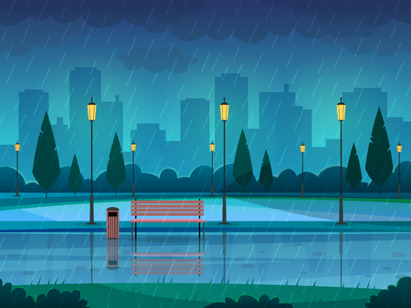 Rainy day park. Raining public park rain city nature season path bench street lamp landscape, flat vector illustration