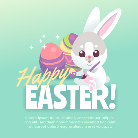 Happy easter bunny poster. Cute white rabbit with easter egg cartoon bunnies celebration greeting card