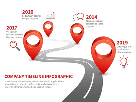 Cronograma de la empresa. Historia y futuro hito del informe comercial en la carretera de infografía con alfileres rojos e ilustración de puntero Ilustración de vector
