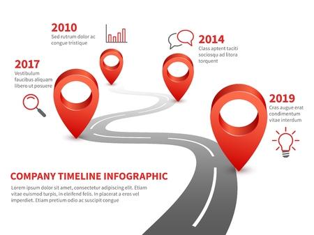 Cronologia aziendale. Storia e pietra miliare futura del rapporto aziendale sulla strada infografica con spille rosse e illustrazione del puntatore Vettoriali