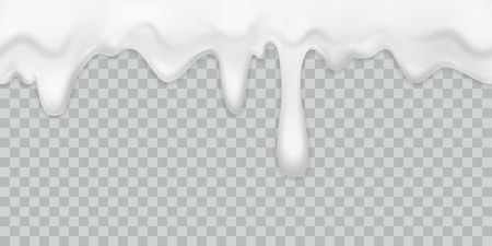 Dripping cream. Milk yogurt pouring white cream border with drops drink dessert mayonnaise flow isolated vector creamy texture