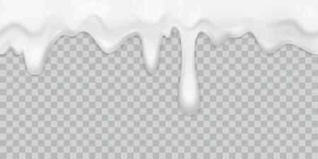 Crema que gotea. Yogur de leche vertiendo borde de crema blanca con gotas beber postre mayonesa flujo aislado vector textura cremosa Ilustración de vector