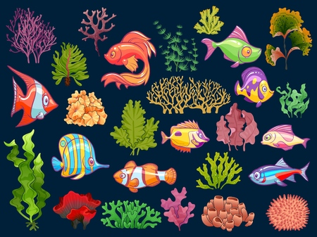Cute kid underwater set. Aquarium baby fish and seaweed in water for children isolated vector collection on dark background Illustration