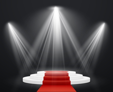 Stairs 3d with red carpet. Spotlight scene staircase podium for celebrity pedestal award stairway up to success isolated vector image