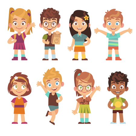 Cute cartoon kids set. Children girls boys standing kid portraits happy teens group funny preschool child vector isolated characters Illustration