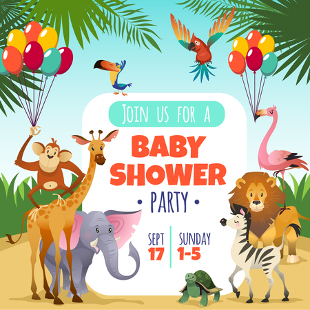 Mother baby shower. Template invitation children party greeting baby tropical animals card, cartoon vector poster Ilustrace
