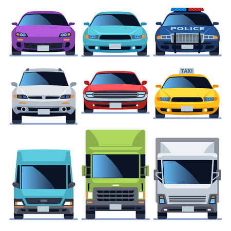 Car front view icons set. Vehicles driving auto service police truck sedan taxi cargo cars road city transport, flat vector objects