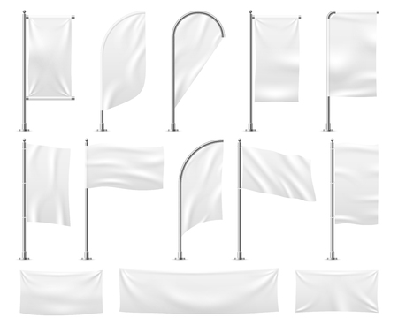 White flags set. Blank banner mockup empty waving fabric canvas poster pennant beach advertising flag vector isolated template