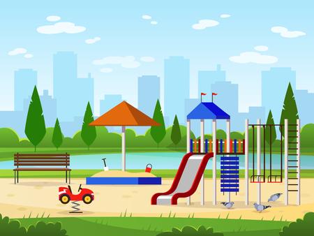 Kids playground. City park playground leisure outdoor activities cityscape landscape garden entertaining, cartoon vector illustration
