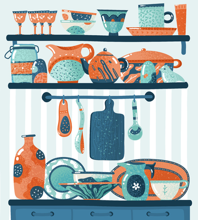 Cooking shelf. Kitchen utensils for food preparation or cookware standing on shelves hanging on hooks. Crockery vector illustration