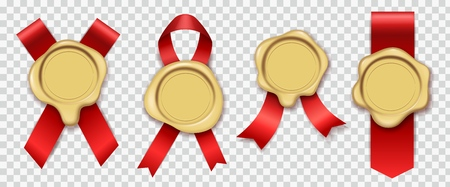 Gold wax. Red ribbons with original candle waxing rubber vintage document envelope seals royal mail stamps isolated vector set 일러스트