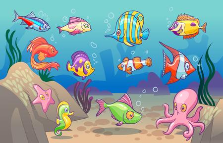 Scena podwodna. Śliczne tropikalne ryby morskie ocean podwodne zwierzęta. Podmorskie dno z koralowymi wodorostami koncepcja wektor kreskówka dla dzieci