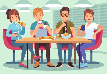 Café de amigos. Gente amable come, bebe, almuerzo, mesa, diversión, asientos, amistad, jóvenes, reunión, restaurante, bar, plano, vector, ilustración